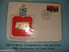 Canada Fdc w/ 23 kt gold replica Stamp 1984 Montreal Symphony 50th Anniversary