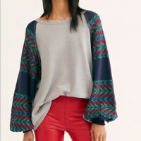 Free People Women's Gray Southwestern Rainbow Dreams Top Size Small NWT$98