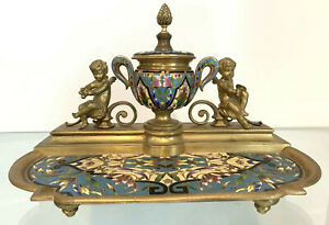 Antique French Gilt Bronze Champleve Inkwell Cherub Putti Enamel Ink Well Tray