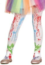Girls White Paint Splatter Carnival Halloween Fancy Dress Costume Outfit Tights