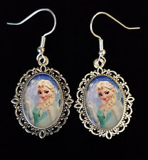 Frozen Elsa Princess Disney Antique Silver Drop Earrings Christmas Snowflake