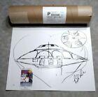 "Bob Lazar Signed Area 51 ""Sport Model"" UFO Print -  JSA COA"