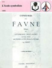 FICHE CARD l'Ecole Symboliste l'Après-Midi d'un Faune de Mallarmé France 90s