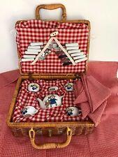 Vintage Child's Madeline Porcelain Tea Party Set in Picnic Basket - Complete