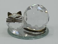 Franklin Mint Curio Cabinet Cats  CUT CRYSTAL VERY RARE (AS IS )