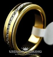 MEN'S WOMEN'S 14K YELLOW GOLD WEDDING BAND RING STAINLESS STEEL LAB DIAMOND 8~11