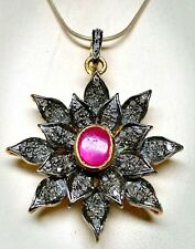 Natural Ruby Gemstone And Pave Diamond Flower Shape 925 Solid Silver Pendant