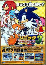 Sonic Advance 3 Gba Rara 51,5 cm X 73 Japonesa Promo Poster