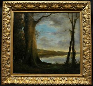 LARGE 19th CENTURY BARBIZON WOODED LANDSCAPE ANTIQUE FRENCH OIL PAINTING