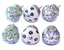 Möbelknopf  Keramik , verschiedene Knöpfe - Grün - Blau,Set  6 Stück, 4  cm Ø