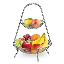 Tramontina  2 Tier Fruit Basket Stainless Steel Serving Rack Display Stand