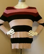 Ann Taylor Loft Pink/Red/Black Striped Long Sleeve Sweater - Size S