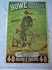 Howe Bicycles Tricycles Poster, Bicycle, Vintage Repro Ad Art French Nouveau