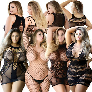 Women Plus Size Sexy Lingerie Fishnet Bodysuit Bodystocking Sleepwear Nightwear