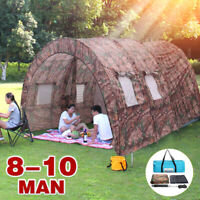 US 8-10 People Outdoor Camping Tent Waterproof Home Hiking Travel Beach Shelter
