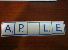 CLEARANCE Apple Scrabble Tiles Mac vinyl sticker for MacBook laptops. Blue decal