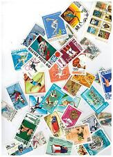 LOT OF 50 OLYMPICS STAMPS SKATING FENCING SKIING POLE VAULT WEIGHT LIFTING MORE