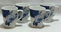 222 Fifth Indigo Rose Porcelain Coffee Mugs Blue & White Floral Set of Four New