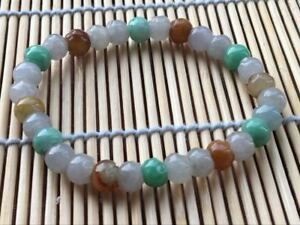 Certified Green Natural A JADE JADEITE Hand Carved Flower Bead 7m Bracelet 1228A