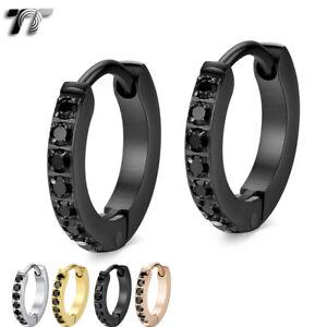 Quality Slim TT 2mm S.Steel Inlaid Sparkling Black CZ Hoop Earring 13-20mm EH148