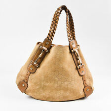 "Gucci Tan Brown Guccissima Suede Leather Braided Handle ""Pelham"" Shoulder Bag"
