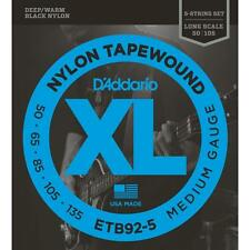 D'Addario ETB92-5 Nylon Tapewound 5-string Bass Guitar Strings 50-135 med gauge