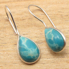 Gemstone LIGHTWEIGHT Gift Jewelry, 925 Silver Plated Simulated LARIMAR Earrings