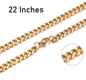 18K Yellow Real Solid Gold Filled 8MM Curb Cuban Mens Chain Necklace Jewellery