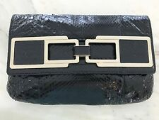 ANYA HINDMARCH PIPKIN COLLECTION BLACK PYTHON CLUTCH NEW!