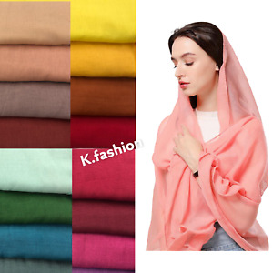 Premium Quality Plain Cotton Viscose Long Maxi Scarf Hijab Headwrap For Women UK
