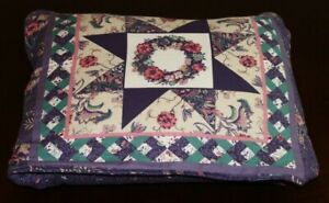"""Quillow Purple quilt panel handmade  (Pillow with 44"""" X 42.5"""" quilt inside)"""
