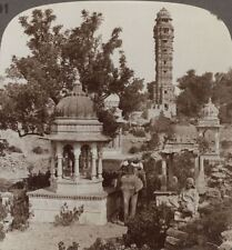 India. Tower of Victory (15th century) & Royal Cenotaph, Chitor - Stereoview