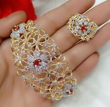 India Bollywood AD Gold Tone Red Stone Bracelet Ring Bridal Jewelry Fashion Lady