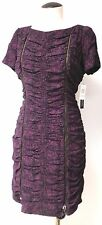 ANDREW MARC FULLY RUCHED PURPLE AND BLACK LACE EXPOSED ZIPPER DRESS SZ 10
