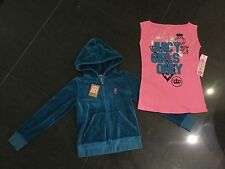 NWT Juicy Couture New & Genuine Girls Age 8 Green Velour Hoody & T-Shirt & Logos