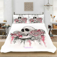 Skull Rose Linen Doona Quilt Duvet Cover Set Single/Double/Queen/King Bed