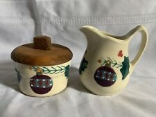 Hartstone Pottery Christmas Traditions Creamer Pitcher and Lidded Sugar Bowl