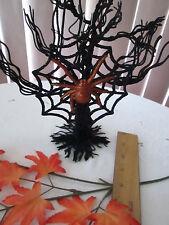 Simply Fall Colorful Glitter Black Spider Web Halloween Ornament w Orange Spider