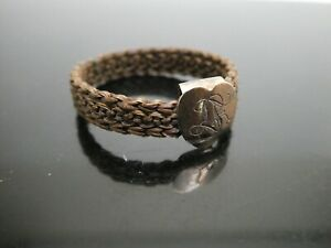 Antique Edwardian 9CT Heart Shape Engraved Woven Mourning Hair Ring Size 9