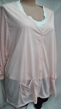 Autograph light peach POLY Linen Cardi cardigan jumper + buttons pockets 14