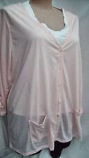 Autograph light peach POLY Linen Cardi cardigan jumper + buttons pockets 26
