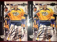 Carter Hutton  St. Louis Blues NHL goalie auto autograph hockey card LOT X2   St