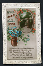 C1920s Wedding Anniversary Card: Flowers: May Your Happiness Continue