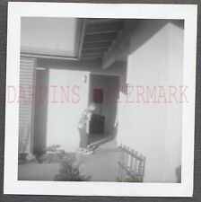 Unusual Vintage Photo Candid View of Cute Boy at Home Front Door 671780