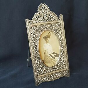Fine Anglo Indian Vintage Sterling Silver Picture Frame, Repousse Decoration.
