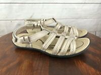 ABEO Pewter Leather Strappy Flat Sandals Size 7 M Adjustable Strap Women's
