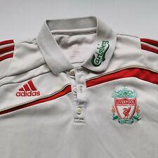 Liverpool FC Adidas Carlsberg Football white Retro Climalite Polo Shirt medium