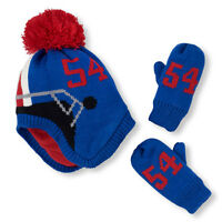 NWT The Children's Place Boys Football Helmet Hat Mittens Set 6-12 12-24 M 2T 3T