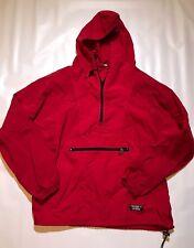 Vintage LL Bean Nylon Anorak Windbreaker 80s 90s Red Half Zip Pullover Hooded
