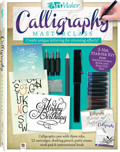 Art Maker Calligraphy Masterclass Kit By Hinkler Books - Brand New - Free Post